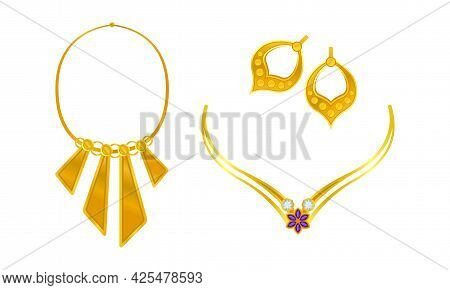 Jewellery Or Jewelry Item As Personal Adornment With Earrings And Necklace Vector Set