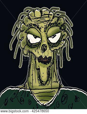 Green Mixed Colors Ugly Monster Portrait Illustration Over Black Background