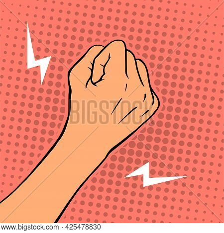 Female Threatening Hand Fist On A Color Background