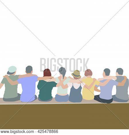 Cooperative People Illustration - Illustration Of Group Of People Sitting On Bench On Transparent Ba