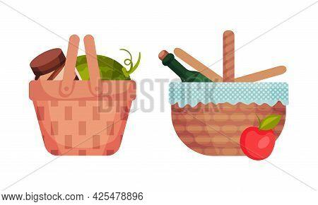 Wicker Picnic Basket Or Hamper Full With Foodstuff Vector Set