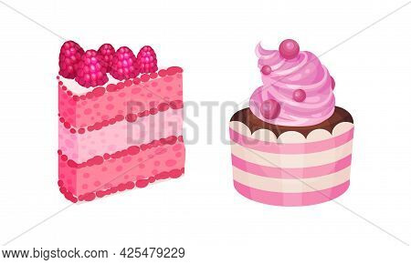 Pink Desserts With Layered Cake With Whipped Cream Vector Set