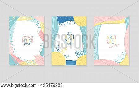 Abstract Cover Or Card Design With Fancy Wavy Shapes Vector Set