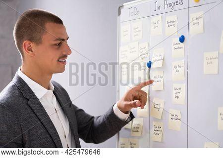Kanban Business Board On Wall In Office