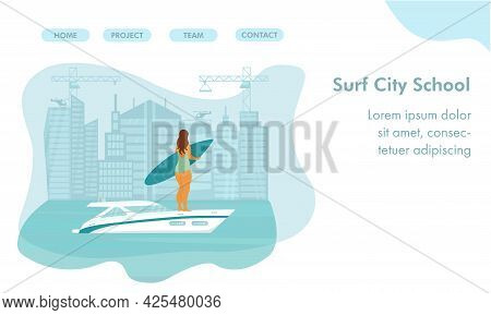 Speed Yacht With Surfer Body Positive Woman In Sea, Ocean. Landing Page For Surf, Surfing School. Ve