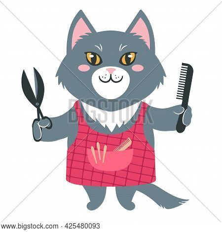 Vector Illustration Of A Cute Cartoon Cat In An Apron With Scisors And Comb