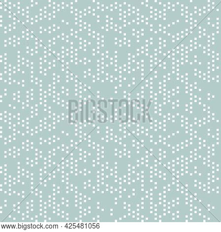 Seamless Vector Background With Random White Squares. Abstract Ornament. Dotted Abstract Pattern