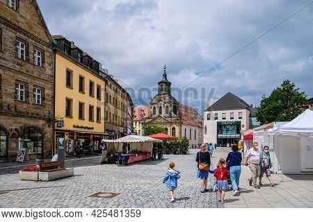 Bayreuth, Germany - June 29, 2021: Bavarian Town Bayreuth, Downtown Bayreuth, Oldtown