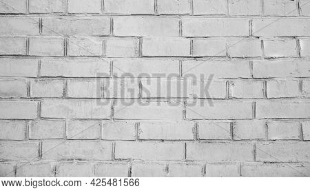 White Brick Wall Background. Detail Of A White Brick Wall Texture. Grunge White Brick Backdrop. Surf