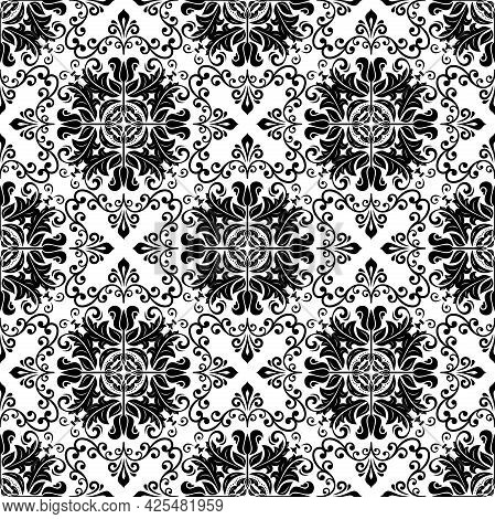 Orient Vector Classic Pattern. Seamless Abstract Background With Vintage Black And White Elements. O