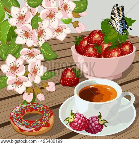 Still Life With Berries And A Cup.cup With Coffee, Berries And Dessert On A Colored Background In Ve