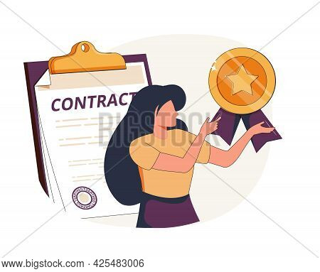 Business Agreement Abstract Concept Vector Illustration Set. Electronic Contract, Sales Contract Ter