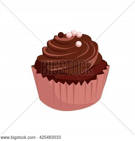 One Delicious Chocolate Muffin With Pink And Chocolate Pearls. Vector Cartoon Illustration Isolated