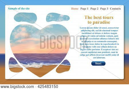 One Page Of Website Related To Vacation Trips And Tours. Vector Template With Text And Tourist Landm