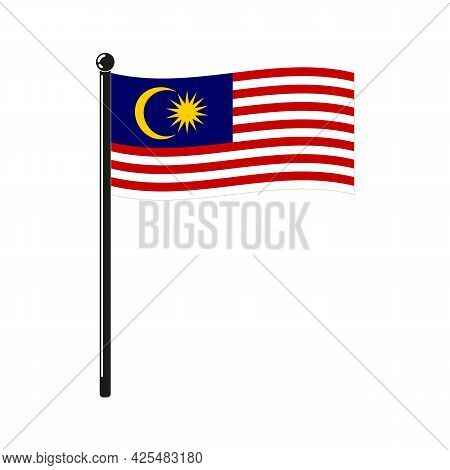 National Flag Of  Malaysia In The Original Colours And Proportions On The Stick