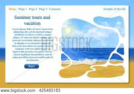 Beautiful Website Designwith Sunny Beach, Blue Sky With Clouds And Sea. One Page Related To Vacation