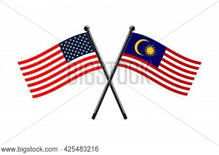 National Flags Of Malaysia And Usa Crossed On The Sticks In The Original Colours