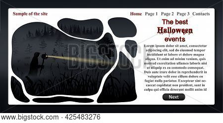 Sample Of One Page Website Related To Celebration Of Halloween Event. Template With Text And Informa