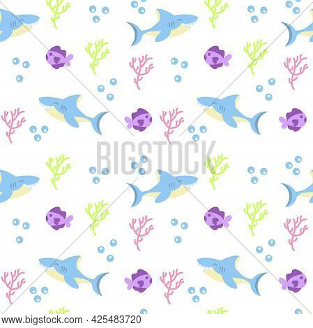 Colored Sealife Pattern With Sharks And Fishes Vector Illustration