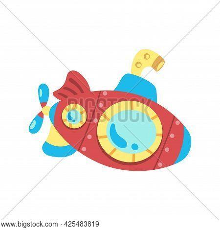 Isolated Submarine Toy Icon. Sea Life Vector