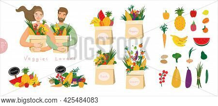 Vegan And Vegetarian Food Set. Happy People With Packages Of Raw Vegetables And Fresh Fruits Bundle.