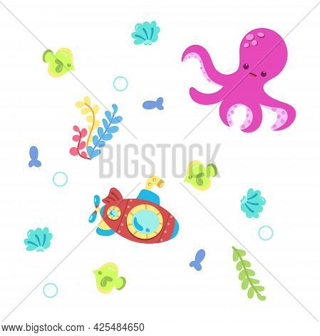 Colored Sealife Pattern With Octopuses And Submarines Vector