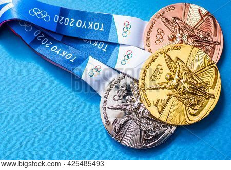 April 25, 2021 Tokyo, Japan. Gold, Silver And Bronze Medals Of The Xxxii Summer Olympic Games In Tok