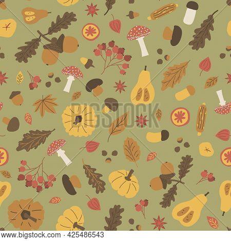 Autumn Halloween Seamless Pattern. Vector Illustration Of Acorn Boletus, Fly Agaric, Viburnum, Leave