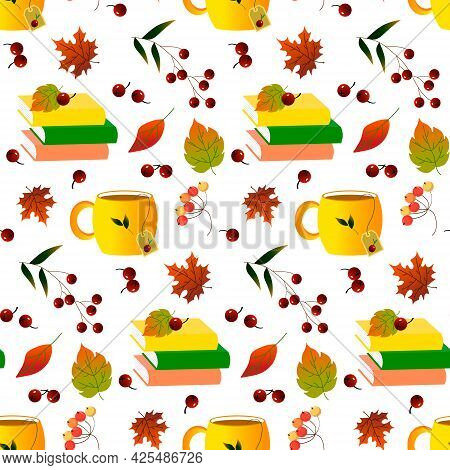 Tea In A Cup, Books, Autumn Leaves And Berries. Autumn Pattern On A White Background.vector Illustra