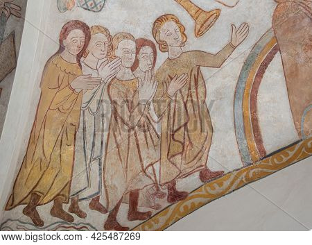 When The Saints Go Marching In Upon The Bridge Of Heaven, An Old Mural In The Church Of Skibby, Denm