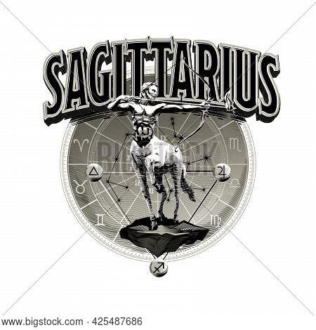 Astrological Vector - Hand Drawn Romantic Beautiful Line Art Of Zodiac Sagittarius. Illustration Iso