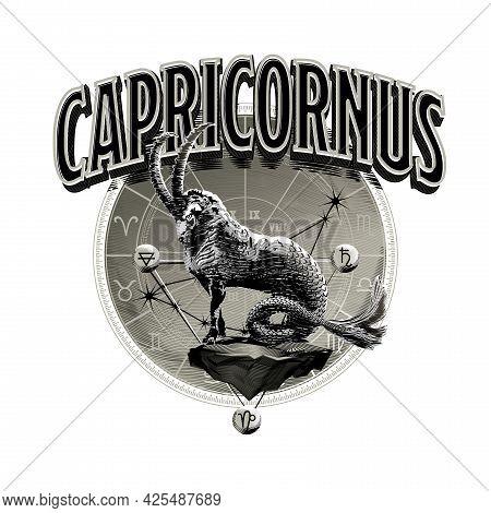 Astrological Vector - Hand Drawn Romantic Beautiful Line Art Of Zodiac Capricorn. Illustration Isola