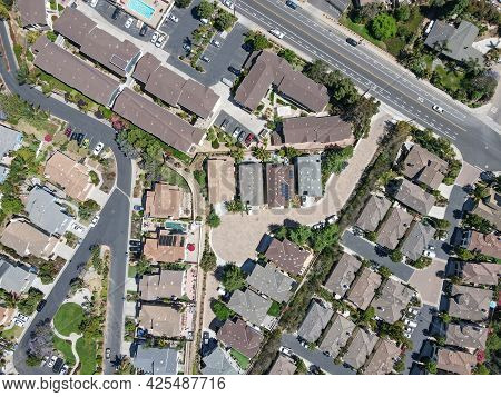 Aerial Top View Of Suburb Area With Residential Villa In San Diego, Encinitas, South California, Usa