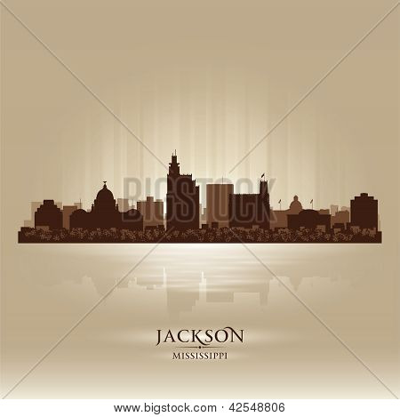 Jackson Mississipi Skyline City Silhouette