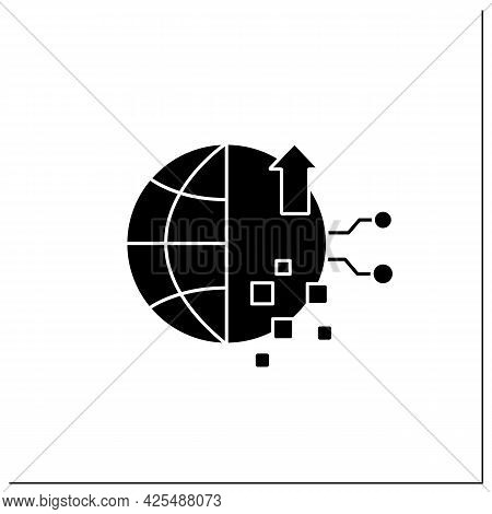 Digital Experience Glyph Icon. Interaction Between Person And An Organization.modern Technology.glob