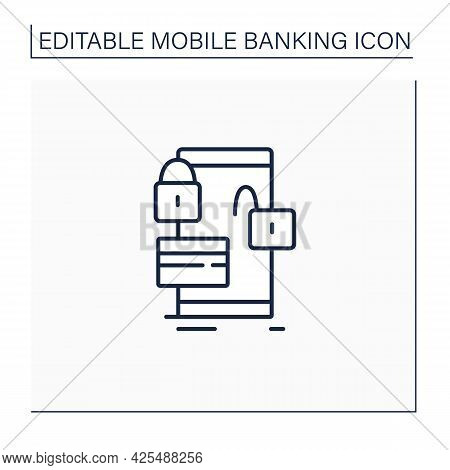 Lock And Unlock Card Line Icon. Protection Owns Credit And Debit Cards. Saving Money Using Banking A