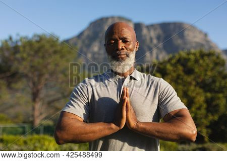 Portrait of senior african american man practicing yoga in stunning countryside. retirement and active senior lifestyle concept.