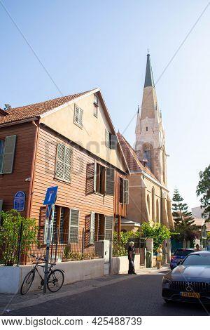 Tel Aviv, Israel - June 11, 2021: American-german Colony Buildings - Immanuel Church, Maine Friendsh