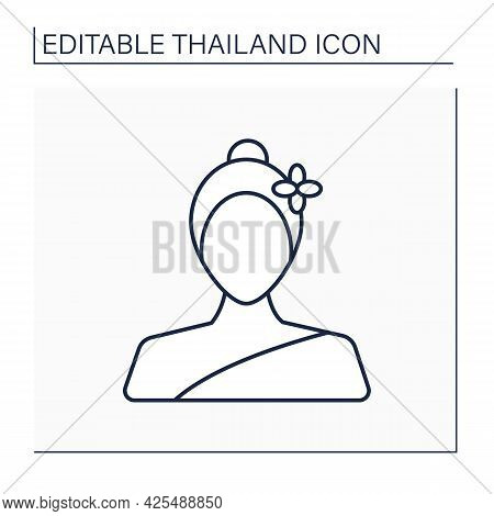 Woman Line Icon. Thai Woman In Traditional Suit. Country Citizen.thailand Concept. Isolated Vector I