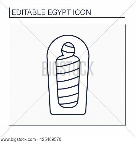 Mummy Line Icon. Human Body Is Ceremonially Preserved. Embalming And Wrapping In Bandages.prepared F