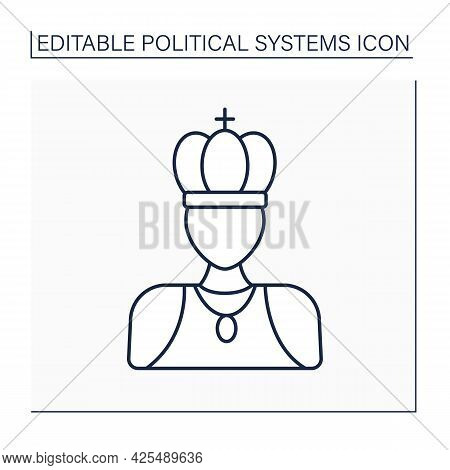 Monarchy Line Icon. Supreme Authority Vested In Monarch. Individual Ruler Achieve Position Through H