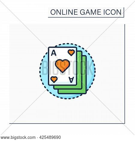 Card Game Color Icon. Deck Of Game Cards. Gambling. Interesting Gameplay Process. Online Game Concep