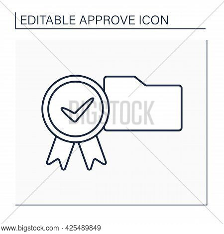 Approve Folder Line Icon. Check In Paper Folder. Examine And Accept. Confidential File. Confirmed Co