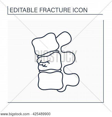 Compression Fracture Line Icon. Crush. Vertebral Collapsetrauma Or Vertebrae Weakness. Backache.heal
