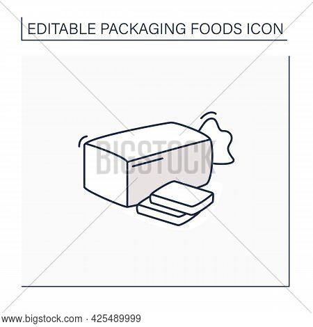 Sandwich Bread Line Icon. Bread In Package.portion Control, Protection, Tampering Resistance From Ba