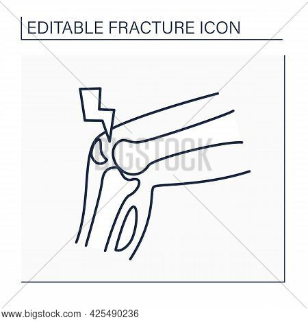 Stress Fracture Line Icon. Fatigue-induced Bone Fracture Caused By Repeated Stress. Knee Pain.health