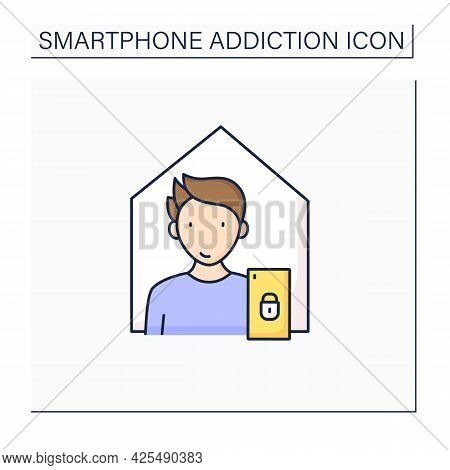 Smartphone Addiction Color Icon. Isolation From Family. Virtual World. Private Place. Overwhelmed Co