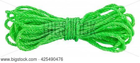 Green Rope, Skein Of Cord Isolated On White Background.