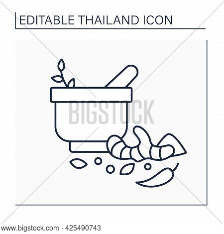 Herbs And Line Icon.flavoring And Aromatic Substances Used To Prepare Dishes. Chili Peppers, Ginger.