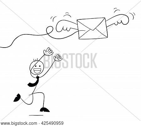 Stickman Businessman Character Trying To Catch The Flying Envelope, Vector Cartoon Illustration. Bla